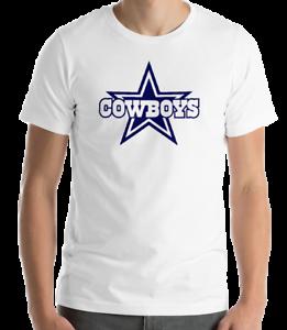 DALLAS-COWBOYS-WHITE-T-shirt-Navy-Graphic-Cotton-Adult-Logo-S-2XL