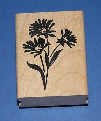 NEW Inkadinkado 'Three Daisies' Wooden Backed Rubber Stamp 98009K