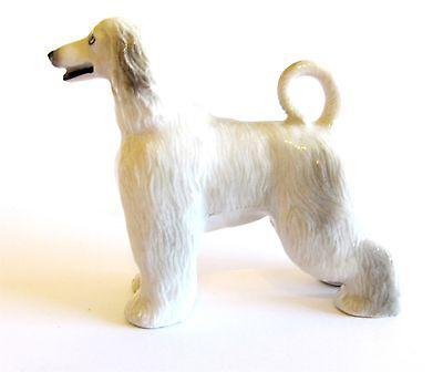 Afghan Hound Light Grey Miniature Ceramic Hand Painted Dog Figurine -Tail Up