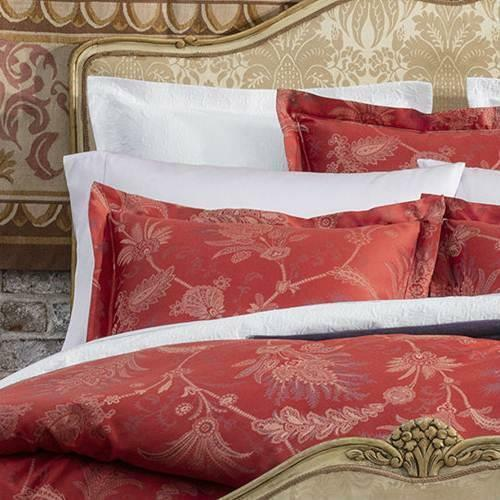 Sferra Dania Euro Continental Sham Crimson Red Paisley Woven Cotton Sateen 26x26