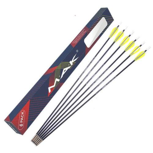 6Pcs 26 inch SP1000 Solid Fiberglass Archery Arrows for Target Practice Recurve