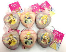 6 x Disney Princess Heart Shaped Xmas Baubles Aurora Cinderella Belle