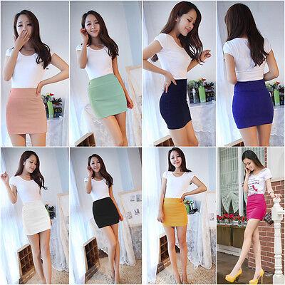 Women Sexy Mini Skirt Slim Seamless Stretch Tight Short Fitted Candy Dress Skirt