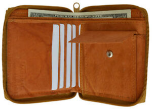 Tan-Genuine-Leather-Men-039-s-Bifold-Wallet-Zip-Around-Coin-Change-Cards-Holder