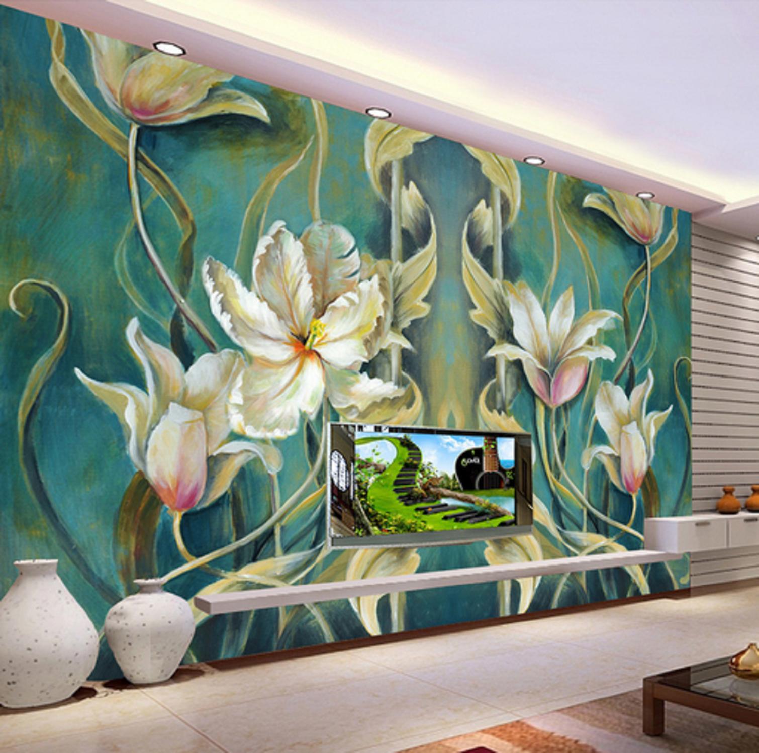 3D Retro Blumen Ölgemälde 5 Tapete Tapeten Mauer Foto Familie Tapete Wandgemälde
