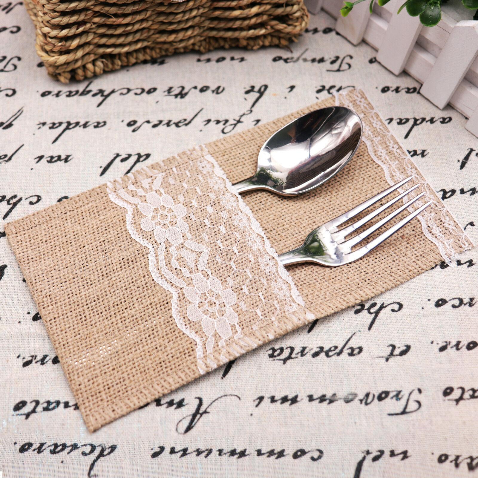 1-200pcs naturel de Hesse jute Dentelle Couverts Titulaire Pochette Mariage vaisselle Sacs