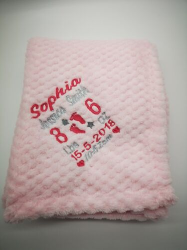 feet  SUPER SOFT Personalised  embroidered BABY WAFFLE BLANKET birth block
