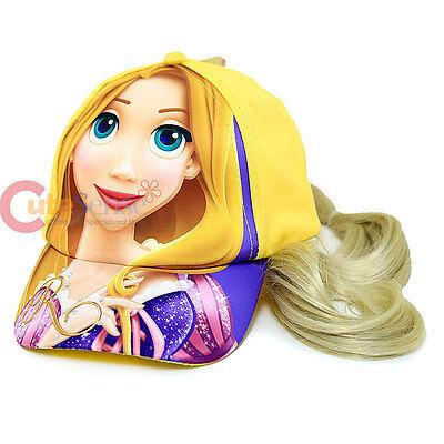 Disney Pirncess Rapunzel Tangled Girls Baseball Cap with Hair Wig Costume Hat