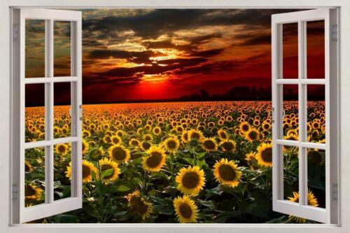 Sunflower Field coucher de soleil 3D Fenêtre Décalcomanie Autocollant Mural Art Mural Fleurs H564