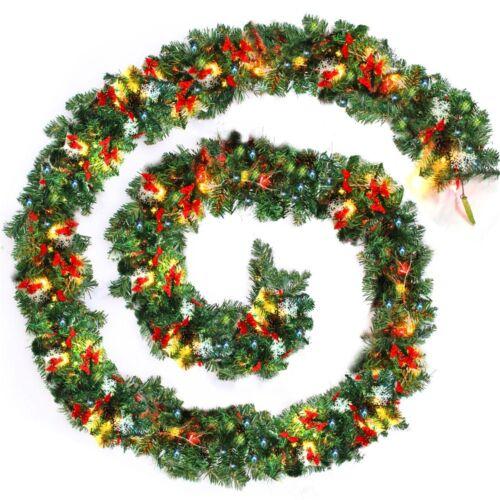 9FT DIY Led Christmas Garlands Lights  Fireplace Decorations Xmas Large snow UK