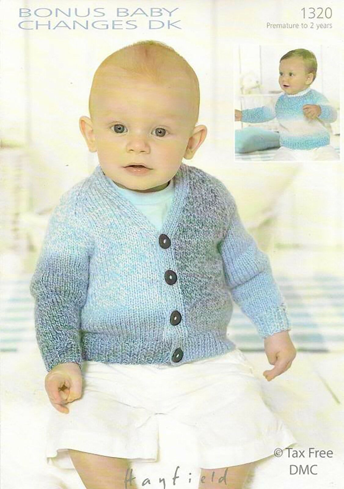 f1df5c08b82e Hayfield 1320 Baby Sweater Cardi Knitted Pattern DK Pre 2 Years for ...
