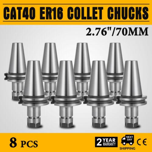 8Pcs 2.76 CAT40-ER16 COLLET CHUCKS Tool Holder Set CNC Tested Free Shipping