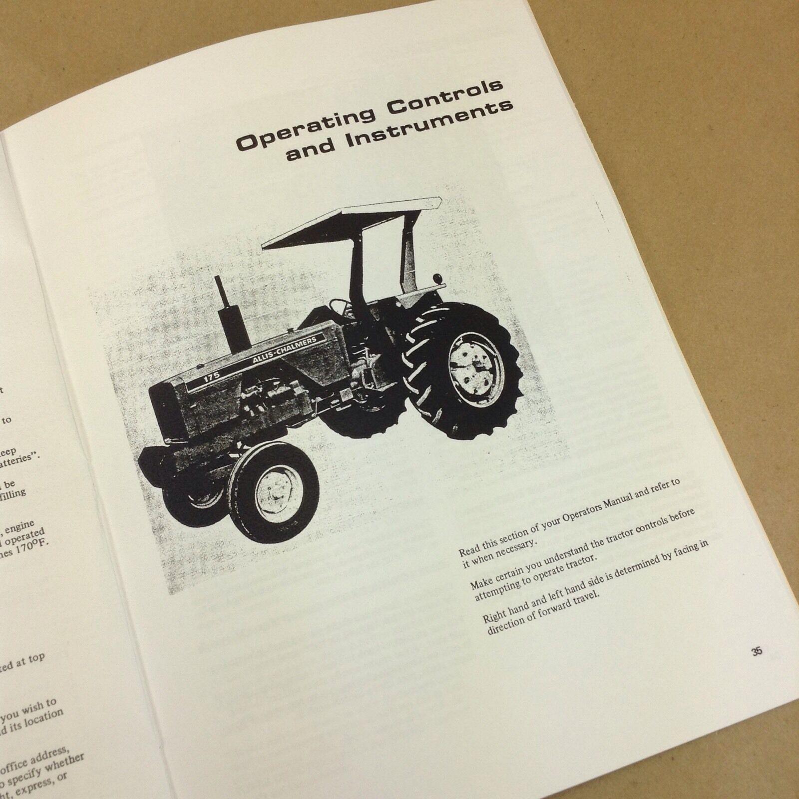 Allis Chalmers 175 Tractor Operators Owners Manual Gas Gasoline Diesel |  eBay