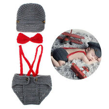 3 in 1 Set Baby Crochet Boy Gentleman Set Baby Knitted Photo Photography Props