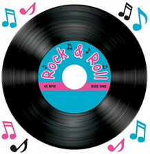 VINYL RECORD and MUSICAL NOTES wall stickers 9 decals 45 RPM rock & roll