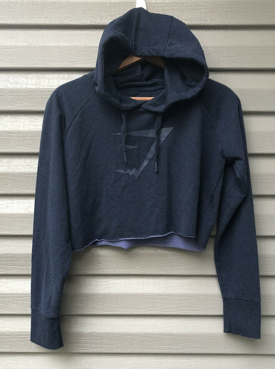 Gymshark Cropped Hoodie Size S Small Blue EUC