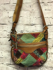 Fossil Women's Brown Leather Patchwork Crossbody Handbag Multi Color Boho Hippy