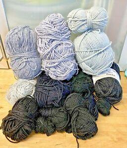 Knitting-Yarn-Wool-Blacks-Greys-Lot-340g-Chunky-Crafts-Crochet-Spinning-DK-6J