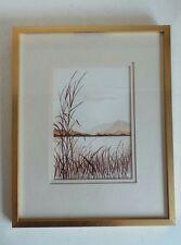 Vintage Old Large Original Ink on Paper Painting og Water Grass in Gold Frame Ho