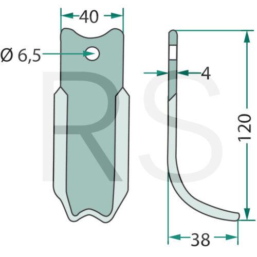 Fräsmesser für Agria 1600 2400 2600 Fräse 156706622 Bogenmesser 180AGR-08