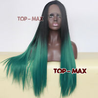 24 Inches Black Mixed Green Long Straight Women Fashion Lace Front Wig