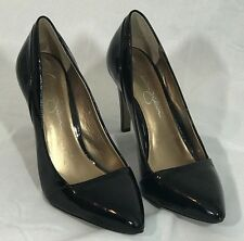 Jessica Simpson 'Helenna' Pump Black Patent Pointed Toe Slim Heels, Women's 9