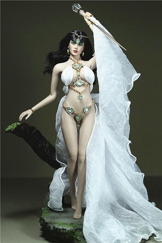 Personalizar 1 6 blancoo Larga Cola Falda Ropa Set F 12  ph Busto Grande Cuerpo Femenino