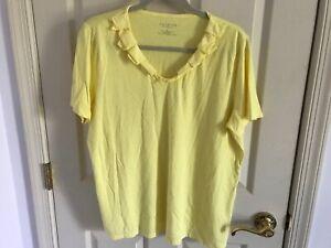 Woman-s-Talbots-plus-size-1X-yellow-ruffle-v-neck-short-sleeve-cotton-blend-top