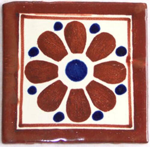 "C017 Mexican Handmade Talavera Clay Tile Folk Art 4x4/""  Handpainted"
