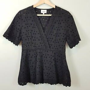 SEED-HERITAGE-Womens-Black-Pretty-Broderie-Top-Size-AU-8-or-US-4