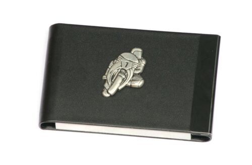 Motorbike 1 Design Black PU and Metal Business or Credit Card Holder Gift