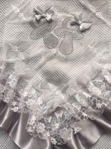 Romany Baby Gris Châle-dentelle blanche avec Bling Dummies Unisexe-Magnifique!!!