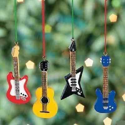Resin Guitar Christmas Ornaments 4 Pc Christmas (4/6034)