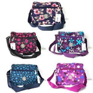 Ladies-Multi-Pocket-Nylon-Cross-Body-Shoulder-Bag-Travel-Purse-Messenger-Bags