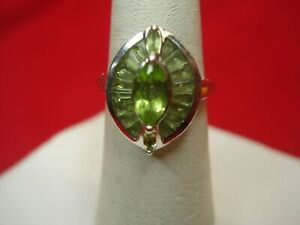 STERLING-SILVER-FILIGREE-RING-WITH-PALE-GREEN-STONES-MARQUISE-amp-BAGUETTES