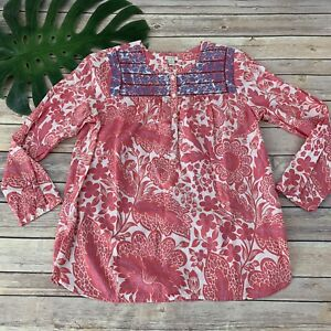 J-Crew-Printed-Embroidered-Placket-Top-Size-XS-Pink-Blue-Floral-Peasant-Boho
