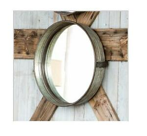 Industrial Wall Mirror round galvanized metal wall mirror~industrial metal drum mirror~16
