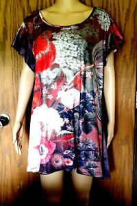 1X-NWT-Lily-by-Firmiana-Womens-Pullover-Tunic-Floral-Pattern-Short-Sleeve