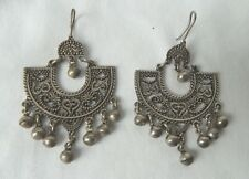 "Egyptian Sterling Silver Arabic Design Earring 2.5"" X 1.5"""