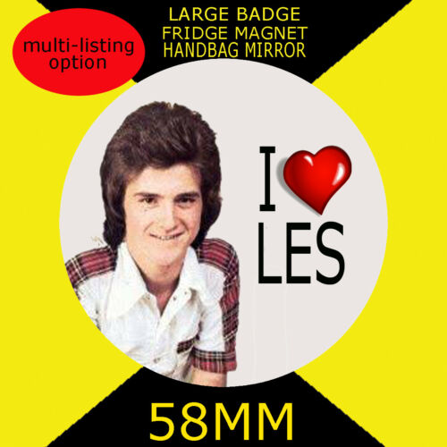 58mm BADGE-FRIDGE MAGNET OR MIRROR-CD2 I LOVE LES BAY CITY ROLLERS