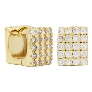 18k-Gold-Plated-Square-Hoop-Huggie-Clear-CZ-Earrings-Ladies-or-Teens