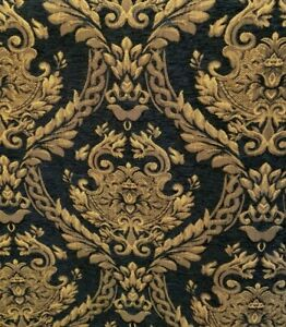 Chenille-Renaissance-damask-Home-Decor-Upholstery-Black-Sold-By-the-Yard-58-034
