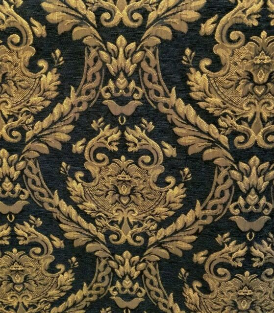 Chenille Renaissance damask Home Decor Upholstery, Black Sold By the Yard 58
