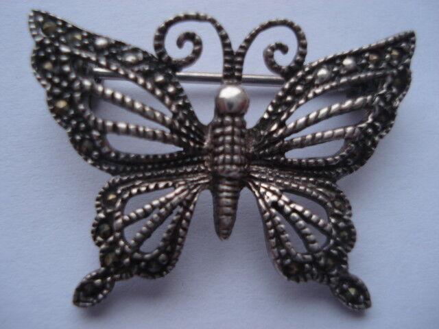 C1950s Vintage Silver & Marcasite Filigree Type Butterfly Shape Pin Brooch