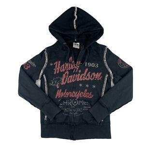 2012 Harley Davidson Women Small Hooded Sweatshirt Full Zip Hoodie Top Black