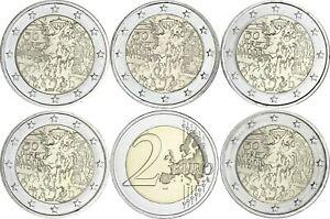 Deutschland-5-x-2-Euro-2019-Mauerfall-bankfrischer-Komplettsatz-A-D-F-G-J