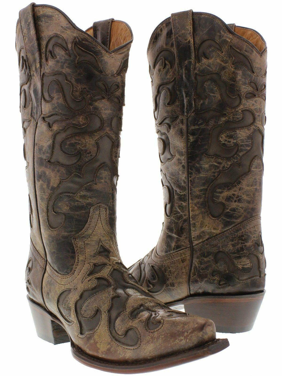 prezzo basso donna Marrone Overlay Cowgirl stivali Distressed Leather Leather Leather Western Wear Snip Toe  spedizione gratuita