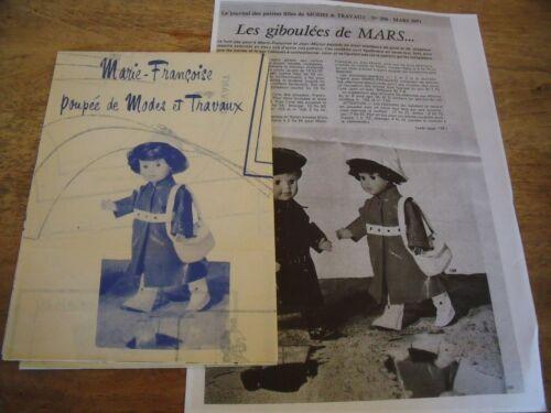 """T4 PATRON POUPEE MARIE FRANCOISE /"""" MODES ET TRAVAUX/"""" MANTEAU DE PLUIE CHAPEAU"""