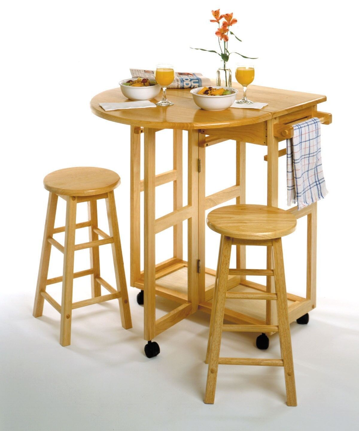 Small Dining Table 3 Piece Drop Leaf Counter Bar Stool