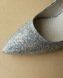 Details about Michael KORS FLEX MID HEEL CLASSIC SILVER GLITTER POINTY TOE  PUMPS I LOVE SHOES
